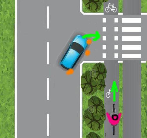 Kierowca zaczyna skręcać, ale drzewa nadal przesłaniają mu widok /