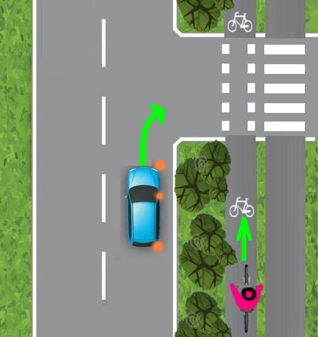 Kierowca zamierza skręcić w prawo i nie widzi rowerzysty /