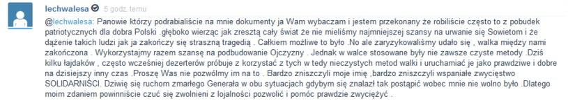 Kilka godzin temu Lech Wałęsa ponownie zabrał głos w sprawie akt, które Maria Kiszczak przekazał do IPN /Wykop.pl /