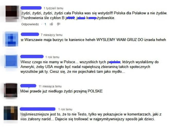 """Kilka komentarzy pod filmem """"Testoviron - Przesłanie Izraela"""". /YouTube"""