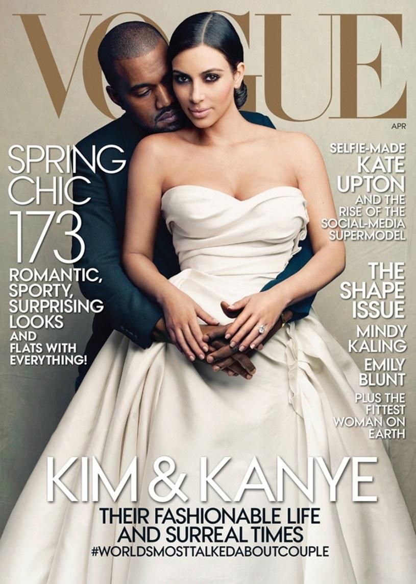 """Kim Kardiashian i Kanye West na okładce """"Vogue"""" /East News"""