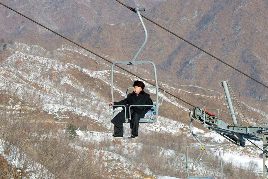 Kim na wyciągu /RODONG SINMUN SOUTH KOREA  /PAP/EPA
