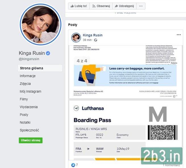 Kinga kartę pokładową zamieściła na Facebooku (Screen ze strony: www.2b3.in) /materiał zewnętrzny
