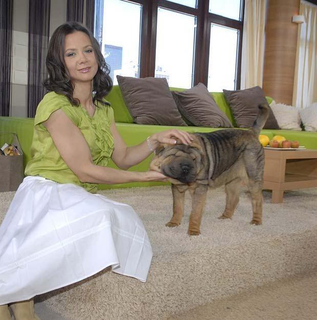 Kinga Rusin w swoim mieszkaniu z psem, fot. Kurnikowski  /AKPA