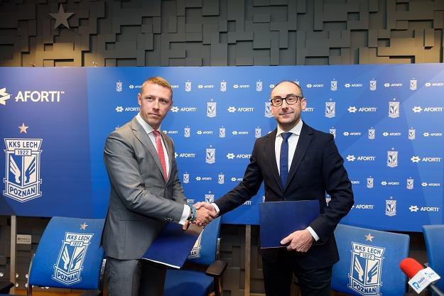 Klaudiusz Sytek (L), szef Aforti i prezes Lecha Karol Klimczak (P) /PAP