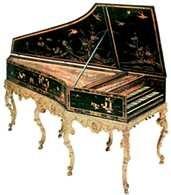 Klawesyn z dwiema klawiaturami, wykonany w Paryżu przez J.C. Goujona, 1749 /Encyklopedia Internautica