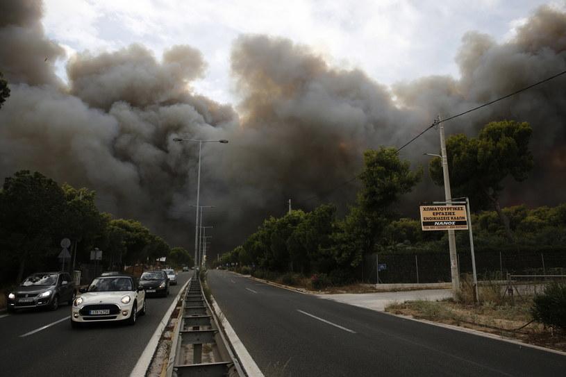 Kłęby dymu w pobliżu Aten /ALEXANDROS VLACHOS /PAP/EPA