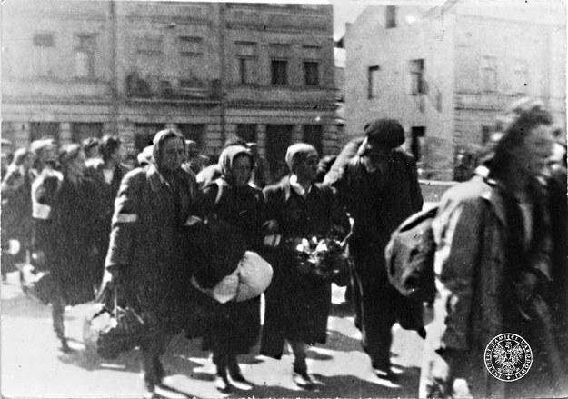 Kobiety deportowane z getta krakowskiego do obozu zagłady w Bełżcu w czerwcu 1942 r. /fotografia ze zbiorów AIPN w Krakowie /