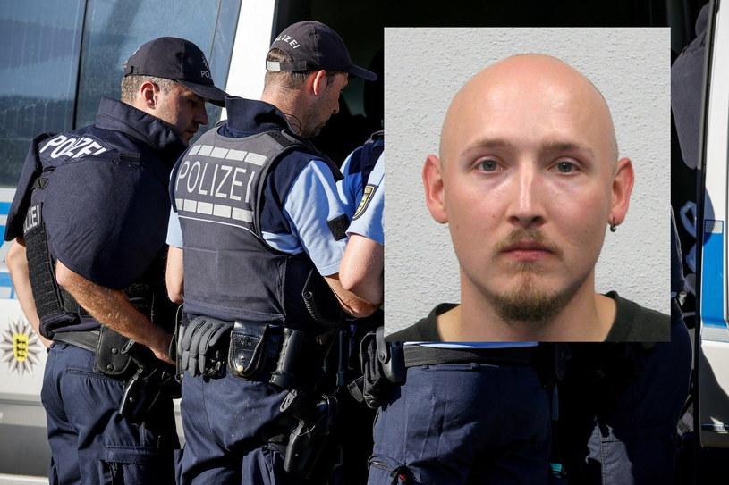 Kolaż zdjęć policjantów prowadzących poszukiwania zbiega i fotografii uciekiniera, upublicznionej przez policję  z Offenburga. /PAP/EPA/FRIEDEMANN VOGEL /PAP