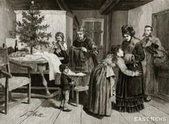 """""""Kolęda dla ubogich"""" (rys. F.Streitt), z gazety """"Kłosy"""", grudzien 1881 r."""
