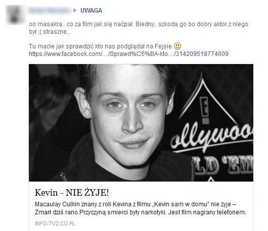 Kolejne oszustwo na Facebooku. Znów uśmierono Kevina! /materiały prasowe