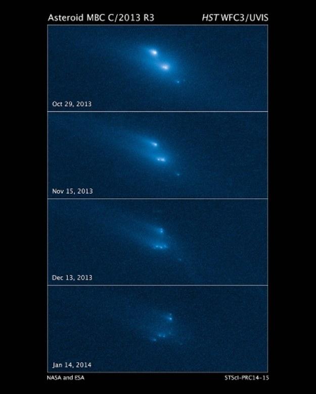 Kolejne stadia rozpadu asteroidy P/2013 R3 Fot. NASA, ESA, D. Jewitt/UCLA /materiały prasowe