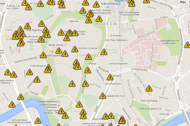 """Kolejny zrzut z ekranu zikit.krakow.pl. Mapa lokalizajcji """"urządzeń bezpieczeństwa"""" z symbolem  roweru ;) /"""