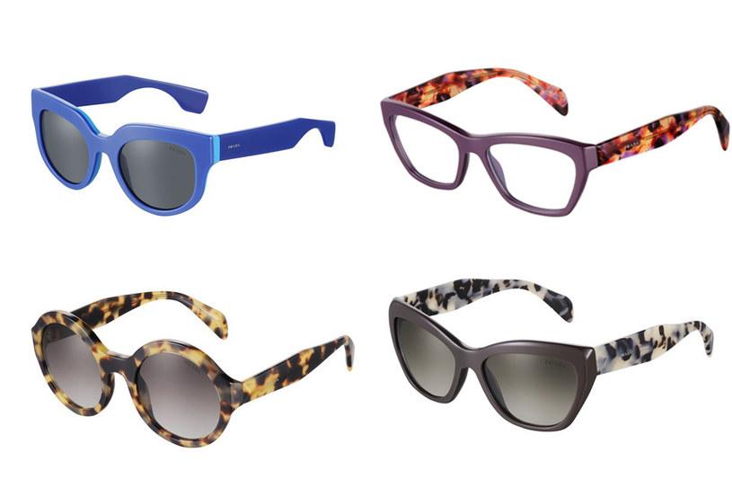 Kolekcja okularów Prada - paleta kolorów obejmuje tradycyjną czerń, beże, brązy i kolorowe interpretacja szylkretu /materiały prasowe