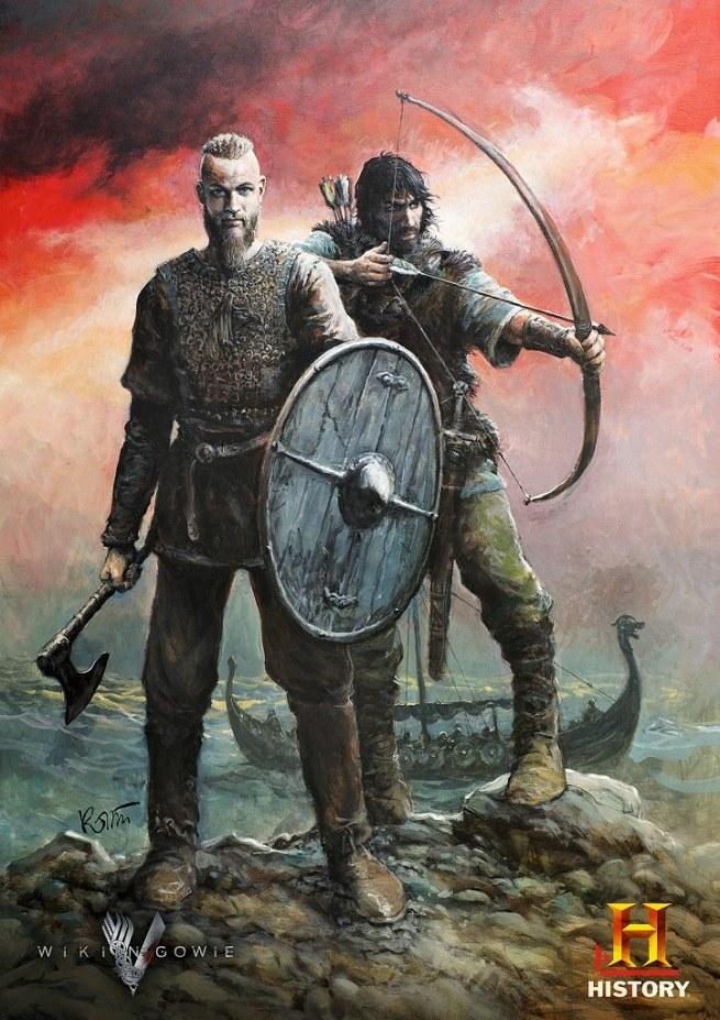 """Kolekcjonerski plakat do drugiego sezonu serialu """"Wikingowie"""" stworzył Grzegorz Rosiński. Przedstawia on legendarnego nordyckiego wojownika Ragnara Lodbroka w towarzystwie nieustraszonego łucznika, przygotowujących się do zdobycia nowego lądu. W ten sposób artysta nawiązuje do wydarzeń z drugiego sezonu """"Wikingów"""", w którym to Ragnar (w tej roli Travis Fimmel) wykorzystuje nowo zdobytą pozycję jarla - donosi serwis Wirtualnemedia.pl. /materiały prasowe"""