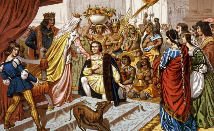 Kolumb z tubylcami witany na dworze królowej Hiszpanii /East News