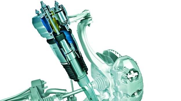 Kolumna zawieszenia składa się z miecha zastępującego sprężynę oraz hydraulicznego amortyzatora z regulacją tłumienia. /Motor
