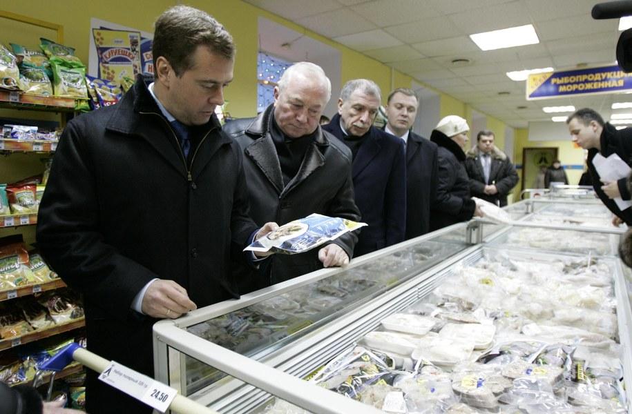 Kombinat rybny z Murmańska rzucił wyzwanie Kremlowi. Na zdj. pierwszy z lewej: premier Dmitrij Miedwiediew /ITAR-TASS/Astakhov Dmitry    /PAP