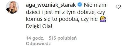 Komentarz Agnieszki Woźniak-Starak pod postem Oli Kwaśniewskiej /Instagram