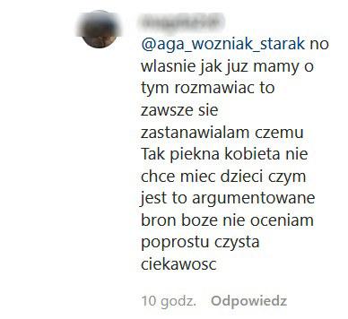 Komentarz fanki na profilu Oli Kwaśniewskiej /Instagram