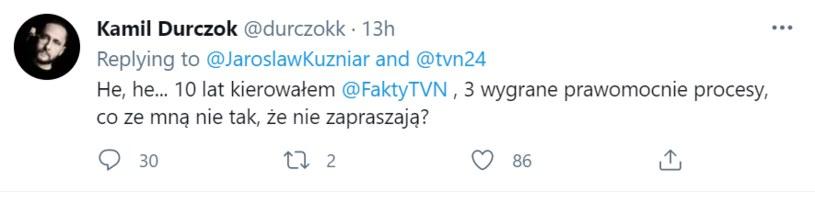 Komentarz Kamila Durczoka pod postem Jarosława Kuźniara /Twitter /materiał zewnętrzny