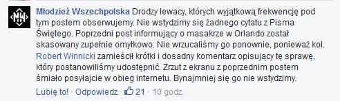 Komentarz Młodzieży Wszechpolskiej na Facebooku /facebook.com