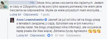 Komentarz na profilu Anny Lewandowskiej/Facebook /Styl.pl