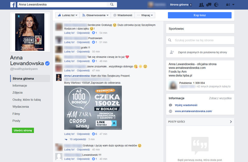 Komentarz opublikowany przez fałszywe konto na oficjalnym profilu Anny Lewandowskiej /materiały prasowe