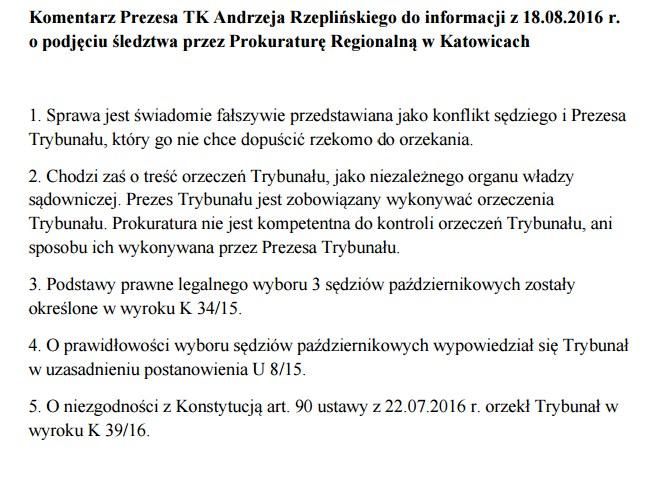 Komentarz prezesa TK Andrzeja Rzeplińskiego /http://trybunal.gov.pl/ /