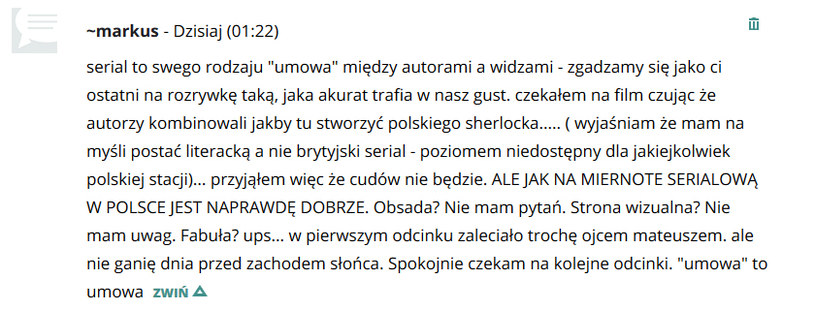 Komentarze czytelmników /swiatseriali.pl