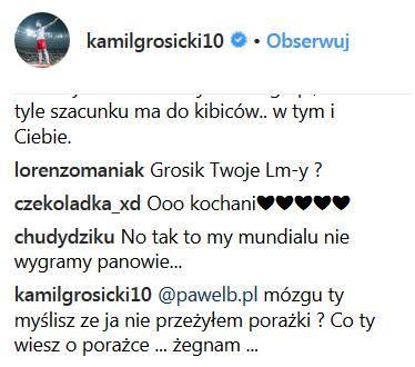 Komentarze Kamila Grosickiego na Instagramie/ Źródło: Instagram @kamilgrosicki10 /