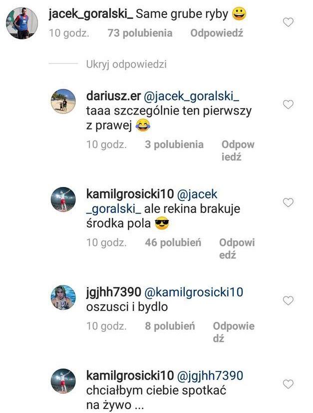 Komentarze na Istagramie pod zdjęciem Kamila Grosickiego/Źródło: Instagram: @kamilgrosicki10 /