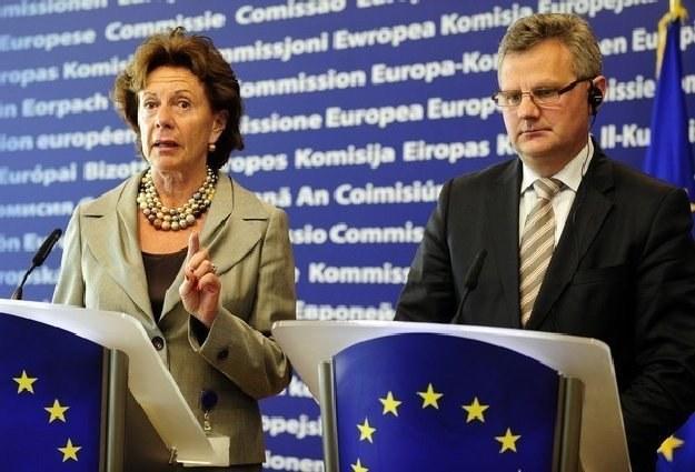 Komisarz ds. konkurencji Neelie Kroes oraz Aleksander Grad, minister skarbu państwa /AFP