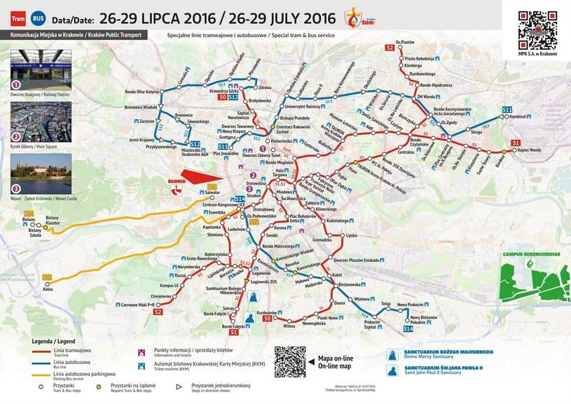 Komunikacja miejska w Krakowie 26-29 lipca 2016 /www.mpk.krakow.pl /