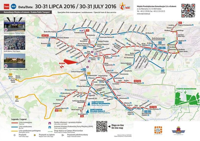 Komunikacja miejska w Krakowie 30-31 lipca 2016 /www.mpk.krakow.pl/ /