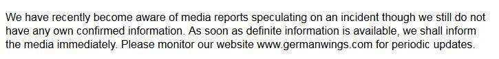 Komunikat na stronie Germanwings /