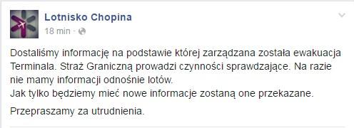 Komunikat na stronie lotniska na Facebooku /