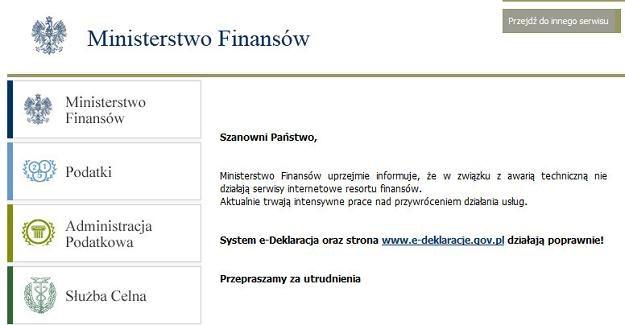Komunikat na stronie Ministerstwa Finansów /MF