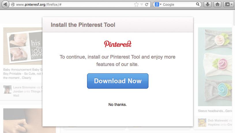 Komunikat o konieczności instalacji Pinterest Tool /materiały prasowe