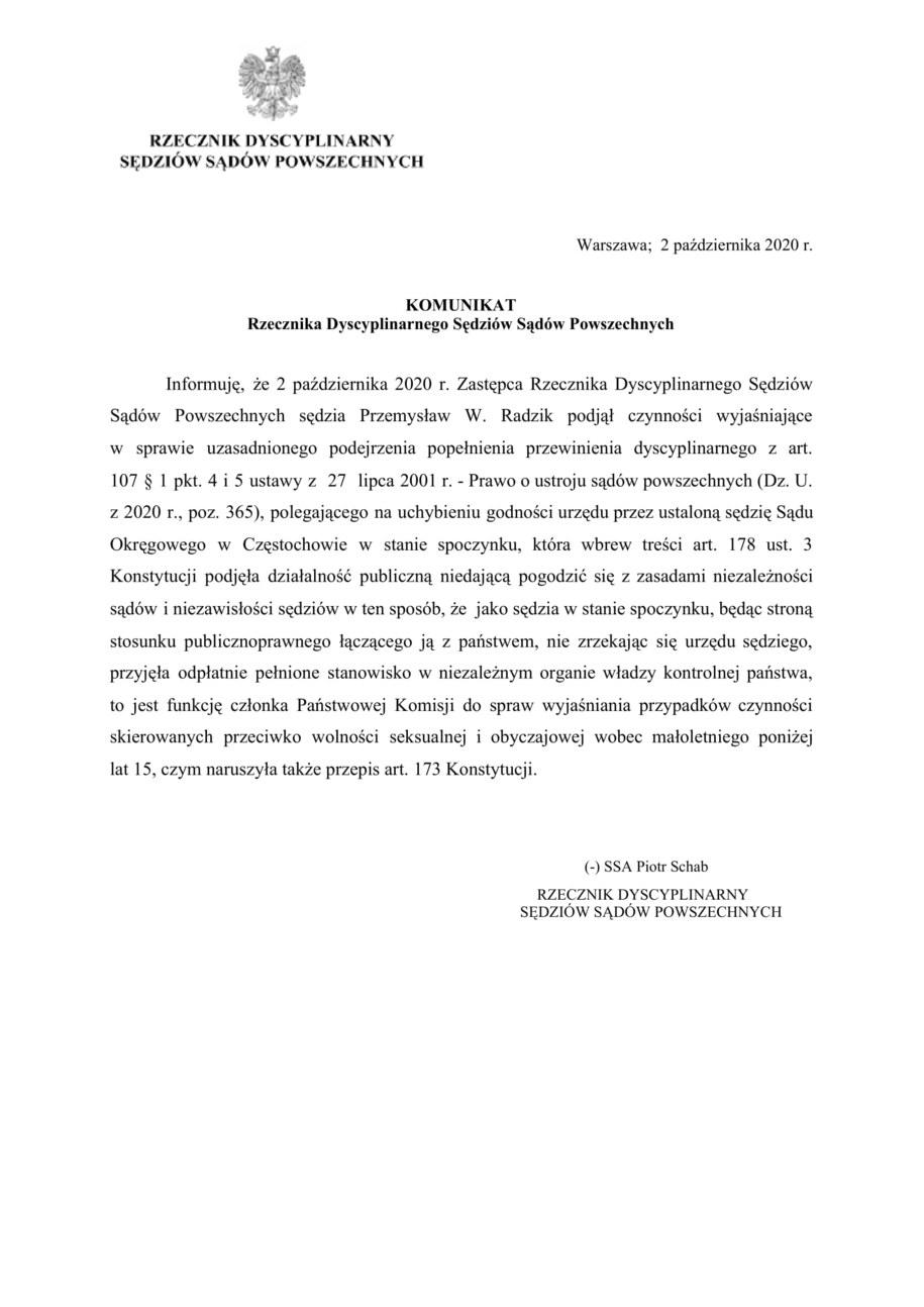 Komunikat rzecznika dyscypliny sędziów /