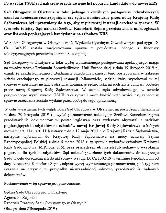 Komunikat sądu /Materiały prasowe