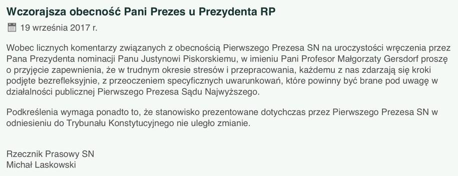 Komunikat wydany przez rzecznika Sądu Najwyższego sędziego Michała Laskowskiego /www.sn.pl /Zrzut ekranu
