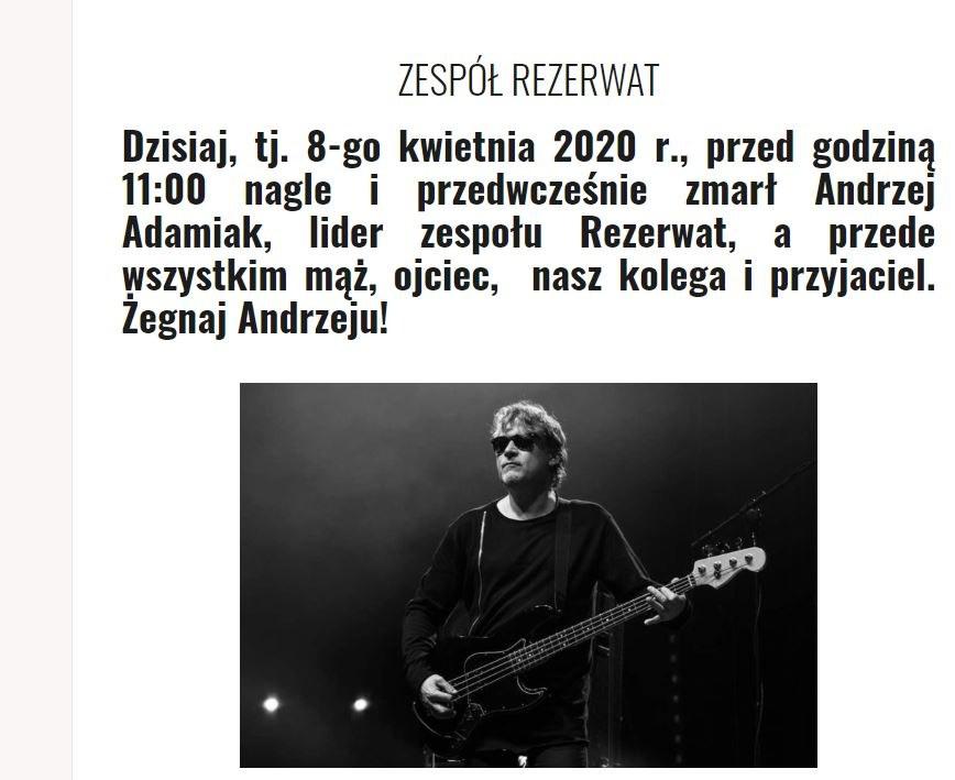 Komunikat zamieszczony na oficjalnej stronie Rezerwatu /https://rezerwat.pl/ /Zrzut ekranu