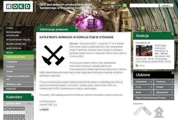 Komunikat zamieszczony na stronie OKD /Zrzut ekranu