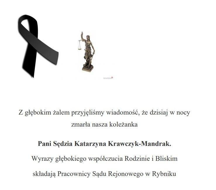 Komunikat zamieszczony na stronie Sądu Rejonowego w Rybniku /Zrzut ekranu