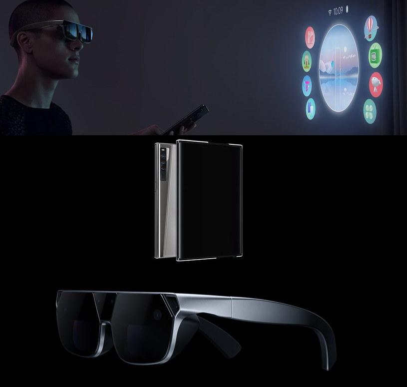 Koncept rozwijanego smartfonu, OPPO AR Glass 2021 i aplikacja OPPO CybeReal AR /materiały prasowe