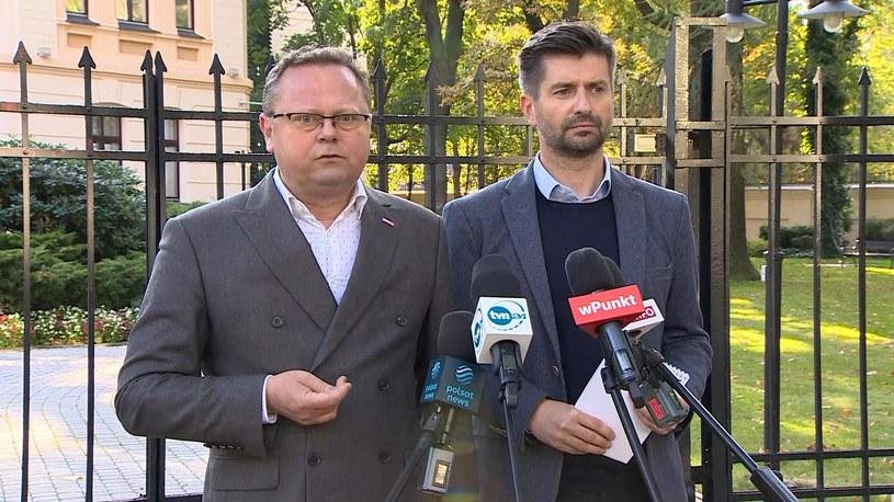 Konferencja Lewicy przed Trybunałem Konstytucyjnym /Polsat News /Polsat News
