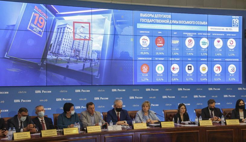 Konferencja prasowa Centralnej Komisji Wyborczej /YURI KOCHETKOV /PAP/EPA