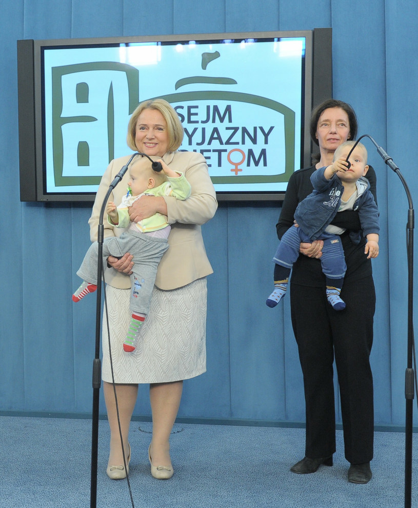 Konferencja prasowa dotycząca przyznania emerytury Barbarze Sienkiewicz. /Jan Bielecki