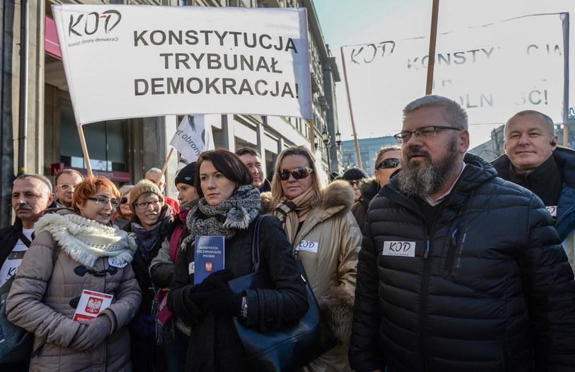 Konferencja prasowa, na której KOD poinformował o swoich planach /Marcin Obara /PAP